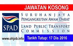 Jawatan Kosong Suruhanjaya Pengangkutan Awam Darat (SPAD) (17 Disember 2016)   Kerja Kosong Suruhanjaya Pengangkutan Awam Darat (SPAD) Disember 2016  Permohonan adalah dipelawa kepada warganegara Malaysia bagi mengisi kekosongan jawatan di Suruhanjaya Pengangkutan Awam Darat (SPAD) Disember 2016 seperti berikut:- 1. Senior Executive - Legal (Prosecution) 2. Manager - Communication 3. Manager - Finance 4. General Manager - Delivery Management Office 5. General Manager - Cross Border Rail…