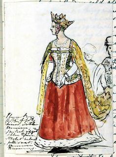 Queen Victoria in Bal Costumé outfit as Queen Philippa: pen and ink sketch with watercolor by Queen Victoria, Thursday 12th May 1842. REPEAT: This is BY the queen herself!