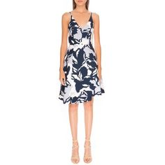Keepsake the Label 'No Secrets' Fit & Flare Dress (£150) ❤ liked on Polyvore featuring dresses, navy camo floral, navy blue fit and flare dress, sleeveless dress, v neck dress, floral fit and flare dress and navy blue floral dress