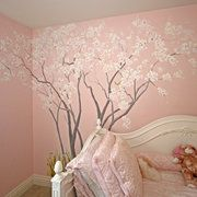 Cherry Blossoms - Close Up - Hand Painted Wall Murals - San Francisco, San Jose, Palo Alto - Murals by Morgan
