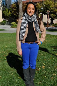 Kelly - Santa Clara University, houndstooth scarf leather jacket blue  chinos brown belt