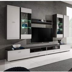 room tv wall modern tv units interior design Spinks Entertainment Center for TVs up to Tv Cabinet Design, Tv Wall Design, Pop Design, Design Room, Design Ideas, Modern Tv Units, Modern Tv Wall, Tv Unit Interior Design, Interior Design Living Room
