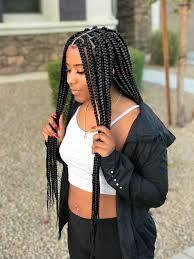 braided hairstyles for black women Medium sized Box Braids - Black Box Braids - Protective Style Black Box Braids, Blonde Box Braids, Black Girl Braids, Girls Braids, Box Braids Women, Long Braids, Braids For Black Women Box, Black Girl Braid Styles, Black Girl Hair