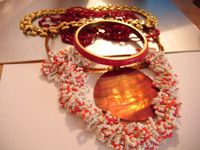 Shades of Red Necklaces, Bangle,goldtone necklace special