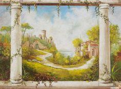 """Affresco """"Paesaggio con Colonnato"""" disponibile con diversi soggetti - ARREDACLICK"""