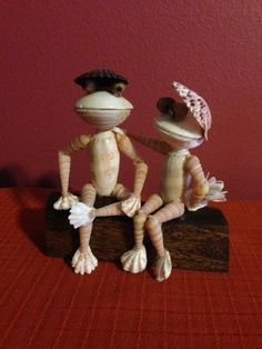 Seashell Frogs Sitting on a Bench by BCSeaShells on Etsy