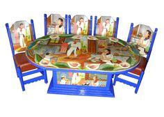 Comedor Familia en la cocina Descripción Diseño: Familia en la cocina Color: Azul Asiento: Vinil café Mesa: Ovalada  6 Personas
