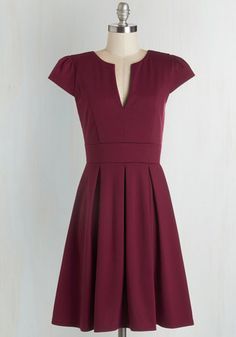 Meet Me at the Punch Bowl Dress in Berry - Red, Solid, Pleats, Work, Casual, Cap Sleeves, Good, V Neck, Variation, Knit, Mid-length, Fit & Flare