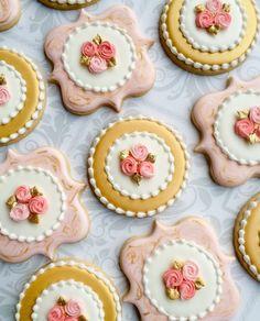 Elegante color de rosa oro y mármol Cookies con rosas  una