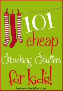 101 Cheap Stocking Stuffers for Kids - Santa can stuff the kids' stockings on the cheap with these fun yet frugal stocking stuffers. You'll find ideas for kids of all ages from 0 to teens and most items are under $10 which makes it easy on Santa's wallet too. Pinned over 10,000 times.