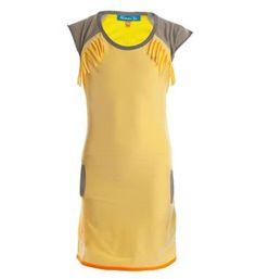 Ninni Vi uni jurk met franjes- Licht geel - NummerZestien.eu