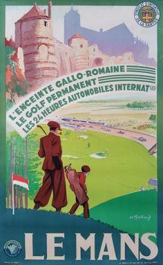 Original vintage poster Le Mans - Golf - Les 24 heures automobiles - André GALLAND