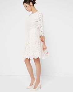 Lace skater dress - Light Pink | Dresses | Ted Baker