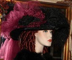Victorian Hat � Burgundy Crystal Fairy