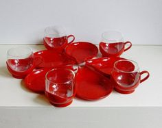 Rare 5 x Vintage Melitta tea / coffee cups mugs and saucers Germany