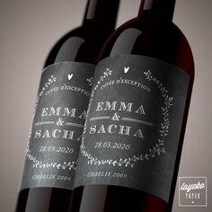 Étiquette de bouteille mariage. Étiquette de vin personnalisée pour votre mariage. /// Wedding wine label