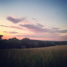 Sunsets over fields.