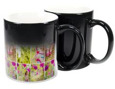 The black colour change mug has a heat sensitive thermochromic coating that reveals your design or image when filled with hot liquid. Colour changing mugs are such a versatile promotional item, whether you are using them at an event, as a corporate promo