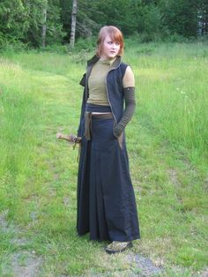 Samurai Wear by nolwen.deviantart.com on @deviantART  converted hakama pants.  vest.  sword.  what more does a girl need than that?