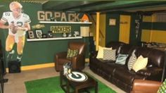 Packers Man Cave Basement by Mary Kate McKenna Photography :: Wife Builds Husband the Ultimate Man Cave on CNN