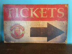 "Vintage retro Style ""Manchester United"" Ticket Booth Sign Soccer Football Game Poster, Sports Bar Pub England UEFA FIFA by Bigchiefvintagesigns on Etsy https://www.etsy.com/listing/551990545/vintage-retro-style-manchester-united"