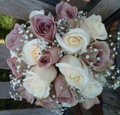 Bridal bouquet: amnesia and cream colored roses with baby's breath. Bridal bouquet: amnesia and cream colored roses with baby's breath. Bridal bouquet: amnesia and cream colored roses with… - Dusty Rose Wedding, Purple Wedding Flowers, Floral Wedding, Flower Girl Bouquet, Rose Bridal Bouquet, Boquet, Bridal Gown, Wedding Bridesmaid Bouquets, Bride Bouquets