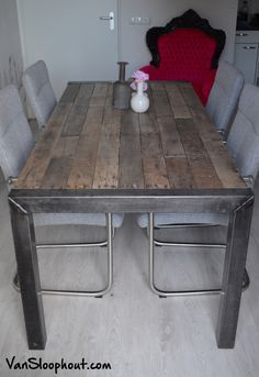 Industrial Table, Industrial Furniture, Kitchen Dining, Dining Table, Chalkboard Table, Sweet Home, Home And Garden, House, Home Decor