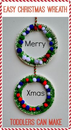 easy christmas wreath toddlers can make toddlers christmas christmas wreaths christmas holidays
