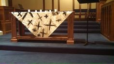 Ash Wednesday altar cloth by youth and children.