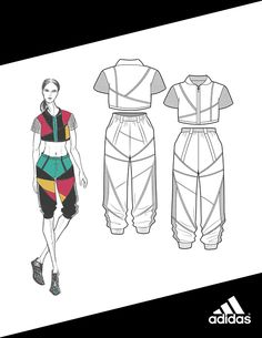 ADIDAS - Women's Active Sportswear Spring/Summer 2016 on Behance Source by Dress Design Sketches, Fashion Design Sketchbook, Fashion Design Portfolio, Fashion Design Drawings, Fashion Sketches, Mode Portfolio Layout, Fashion Illustration Dresses, Outfit Jeans, Technical Drawing