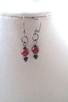 Red Glow and Black Swarovski Earrings by PinkCupcakeJC on Etsy, $8.00