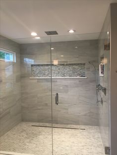 Glass shower with niche Laundry In Bathroom, Wet Room Bathroom, Bathroom Remodel Master, Master Bathroom Decor, Bathroom Makeover, Bathroom Toilets, Bathroom Interior, Luxury Bathroom, Bathroom Shower Design
