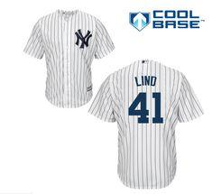 e34d507e931 Men's Majestic New York Yankees #41 Adam Lind Replica White Home MLB Jersey