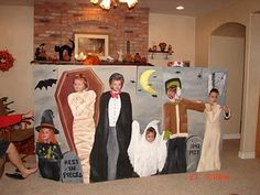Love this idea for a kids party- Ooh, not halloween but use a propped up box and paint something else, party themed