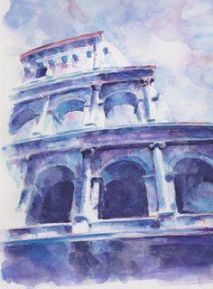 Colosseum Purple Original Watercolour Painting OOAK Rome £30.00