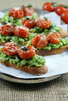 Authentic Suburban Gourmet: Fava Bean and Roasted Tomato Crostini   Friday Night Bites