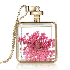 3.19$  Watch here - http://aiul7.worlditems.win/all/product.php?id=J0561G-2 - Fashion New Jewelry Romantic Transparent Crystal Glass Square Floating Locket Dried Flower Plant Specimen Golden/Silver Pendant Chain Necklace for Women Girls