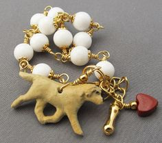 Yellow Labrador Retriever dog bracelet with red heart handmade by For Love of a Dog Jewelry