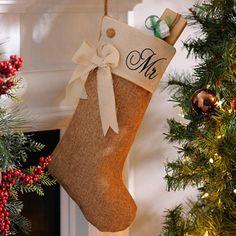 Mr. Burlap Christmas Stocking; $9.99