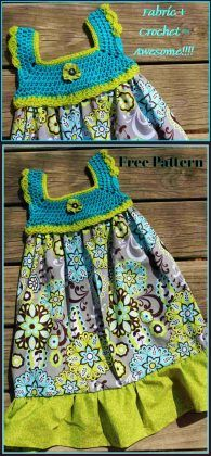 Crochet and Fabric Dress with Free Pattern