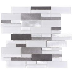 Upgrade your kitchen backsplash to a contemporary look with the Aluminum Glass Tile Backsplash Ice Blend. This mosaic tile combines glass and aluminum tiles and it is suitable for kitchen backsplash, bathroom, fireplace surround, and feature wall. Glass Tile Backsplash, Mosaic Wall Tiles, Beadboard Backsplash, Herringbone Backsplash, Kitchen Backsplash, Mosaic Glass, Backsplash Ideas, Glass Tiles, Quartz Backsplash