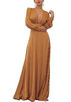 35b1131ed8b6 Fashion Dresses for Women Boho Polka Dots Long Sleeve Deep-V Split Elegant