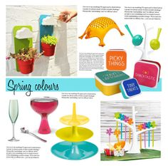 """""""Spring colours"""" by redcandyuk ❤ liked on Polyvore featuring interior, interiors, interior design, home, home decor, interior decorating, Alessi, Koziol, Happy Jackson and LSA International"""