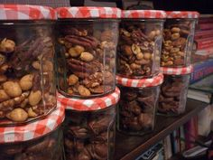 good use of the bonne maman jars- spiced nuts for gifts!