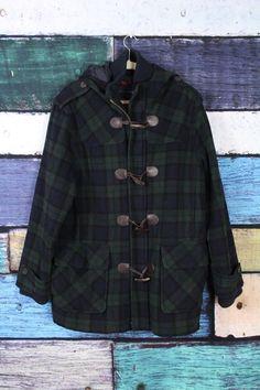 Tommy Hilfiger Men's Blue Green Wool Blend Toggle Blanket Duffle Coat LARGE L #TommyHilfiger #BasicCoat