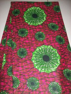 Pink and Green Spider Web African Fabric by the by tambocollection