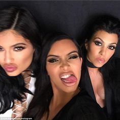 Kim Kardashian shares dolled-up selfies with her sisters from the set #dailymail