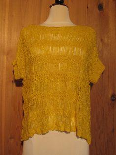 Bebe 2b W's SS Tape Yarn Open Stitch Drapey Sweater Yellow Size P/S $34 - NWT #2bbebe #DrapeyShortSleeve