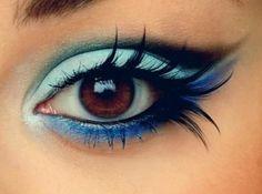 I love that eye makeup in blue tone