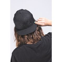 0a4b357533c A Question Of Liberty Black Snapback (€54) ❤ liked on Polyvore featuring  accessories